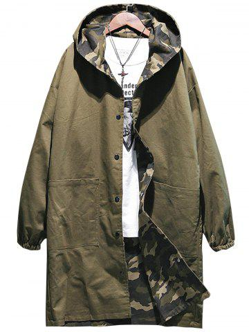 Buy Reversible Style Camouflage Hooded Pockets Coat ARMY GREEN M