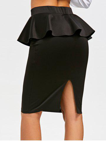 Best Knee Length Peplum Pencil Skirt - XL BLACK Mobile