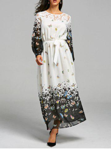 Affordable Butterfly Print Lace Insert Maxi Dress WHITE 2XL