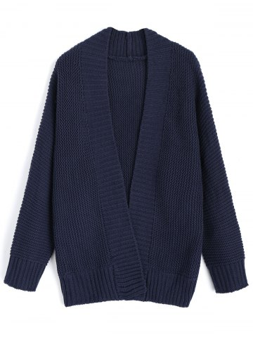 Shop Open Front Long Sleeve Loose Cardigan - ONE SIZE PURPLISH BLUE Mobile