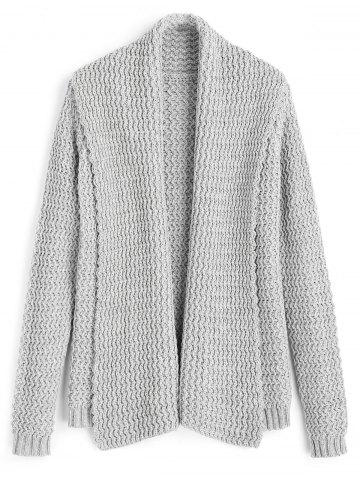 Open Front Zig Zag - Cardigan à col châle Gris TAILLE MOYENNE