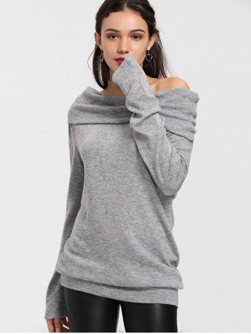 Shops Off The Shoulder Longline Knitwear - M GRAY Mobile
