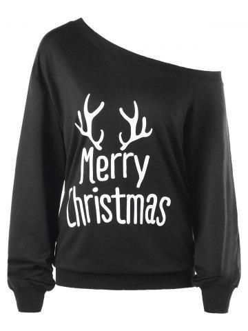 Best Plus Size Merry Christmas Skew Collar Sweatshirt