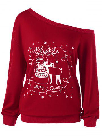Outfits Plus Size Christmas Skew Collar Sweatshirt