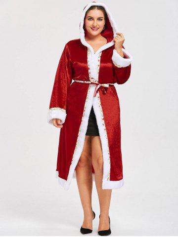 Fancy Plus Size Tie Belt Christmas Hooded Coat