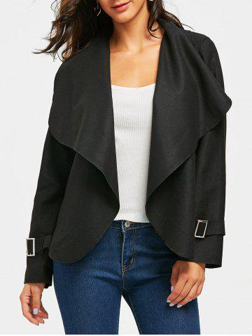 Unique Draped Open Front Wool Blend Jacket