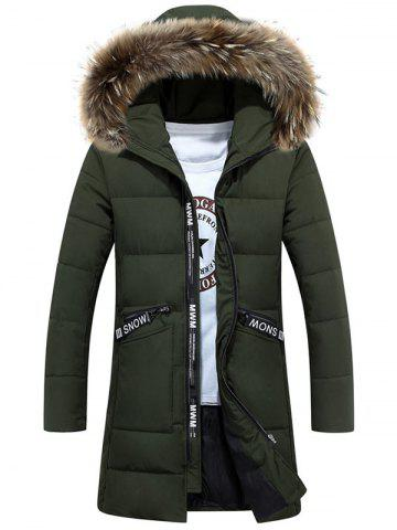 Chic Faux Fur Hood Zip Up Quilted Coat