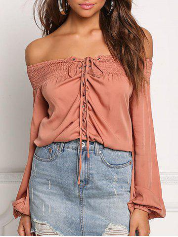 Unique Off The Shoulder Lace Up Shirt