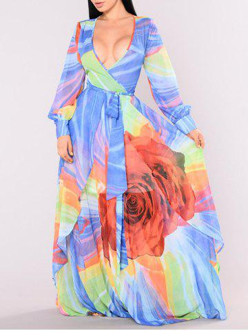 New Plunging Neck Floral Pattern Maxi Dress