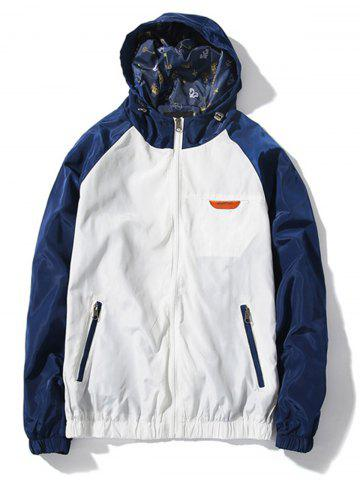 Raglan Sleeve Color Block Windbreaker Jacket