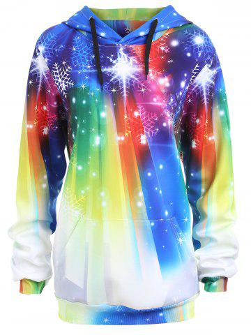 Trendy Rainbow Snowflake Plus Size Christmas Hoodie