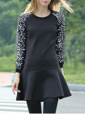 Polka Dot Sleeve Fit et Flare Dress