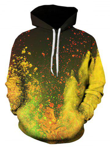 3D Ombre Paint Print Hooded Pullover Hoodie