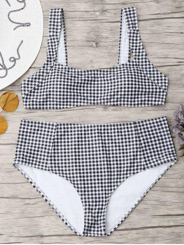 Checked Square Neck Plus Size Bikini Set