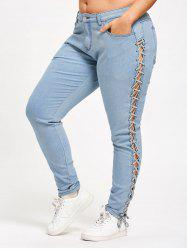 Plus Size Criss Cross Fitted Jeans - Cloudy - 3xl