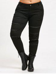 Fitted Plus Size Ripped Ninth Pants - BLACK 2XL