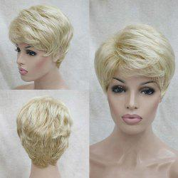 Short Inclined Bang Shaggy Layered Natural Straight Human Hair Wig -