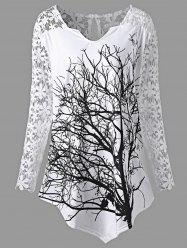 Plus Size Lace Panel Tree Tunic Top - White - 2xl