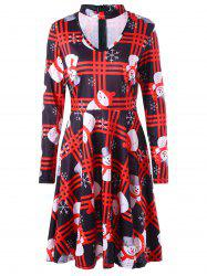 Christmas Snowman Snowflake Plaid Dress - COLORMIX L
