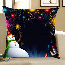 Snowman Fireworks Patterned Throw Pillow Case - Black - W18 Inch * L18 Inch