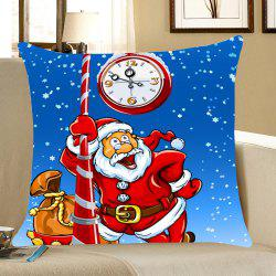 Home Decor Santa Claus Printed Throw Pillow Case - Blue And Red - W18 Inch * L18 Inch