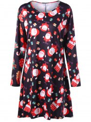 Christmas Santa Claus Print Plus Size Mini Swing Dress - Black - 3xl