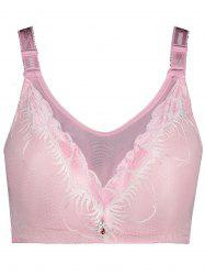 Plus Size Full Cup Padded Wirefree Bra - PINK XL