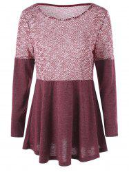 Plus Size Long Sleeve Tunic Top - Russet-red - Xl