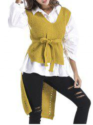 High Low V Neck Knit Vest - GINGER ONE SIZE