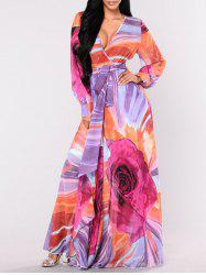 Plunge Surplice Floor Length Print Dress - COLORMIX S