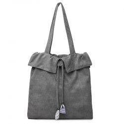 Striped Drawstring Shoulder Bag - GRAY