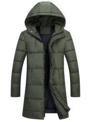 Zip Up Hooded Quilted Long Coat - ARMY GREEN 3XL