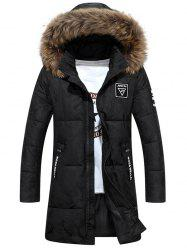 Patch Design Zip Up Hooded Quilted Coat - BLACK 3XL