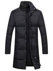 Zip Up Funnel Neck Quilted Coat - BLACK 3XL
