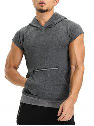 Zipper Hooded Pouch Pocket Vest - DEEP GRAY XL