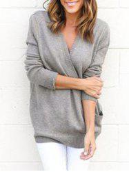 Surplice V Neck Tunic Sweater -
