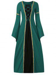 Bell Sleeve Long Queen Costume Dress - GREEN XL