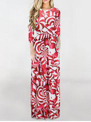 Floor Length Christmas Printed Dress - RED M