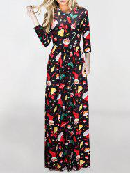 Maxi Christmas Gifts Print Dress - COLORMIX M