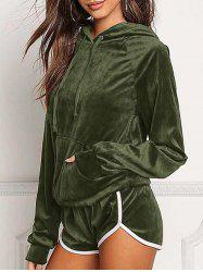 Front Pocket Hoodie with Shorts - ARMY GREEN L