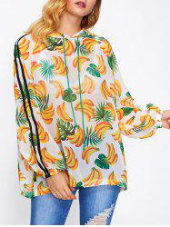 Banana Print Hooded Cover-Up - FLORAL ONE SIZE