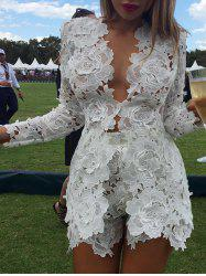Plunging Neck Floral Insert Lace Romper - WHITE S