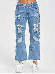 Frayed Raw Hem Wide Leg Jeans - BLUE L