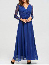 V-neck Long Lace Sleeve Floor Length Dress - BLUE S