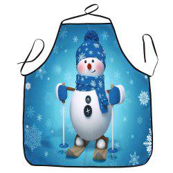 Christmas Snowman Print Waterproof Kitchen Apron -