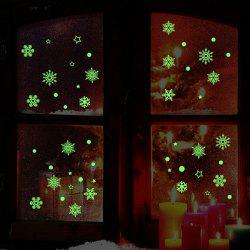 Flocon de neige de Noël Glow In The Dark Wall Stickers - Neon Green - 21*24.5cm