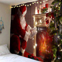 Front Fireplace Santa Claus Patterned Wall Tapestry - Colorful - W91 Inch * L71 Inch