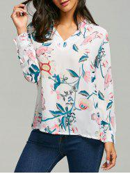Casual Plant Print V Neck Blouse - WHITE S