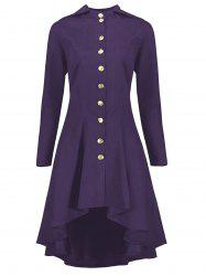 Hooded Plus Size High Low Lace Up Coat - Purple - 3xl