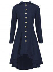 Hooded Plus Size High Low Lace Up Coat - BLUE 5XL